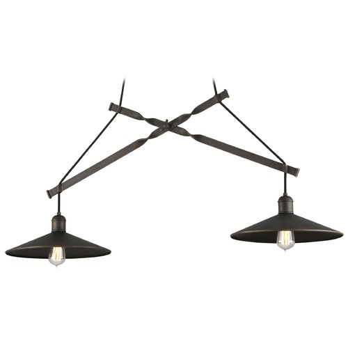 Troy Lighting Troy Lighting Mccoy Vintage Bronze Pendant Light with Coolie Shade F5424