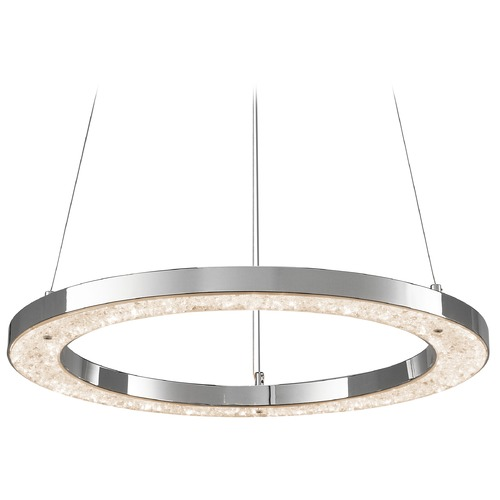 Elan Lighting Elan Lighting Crushed Ice Chrome LED Pendant Light 83415