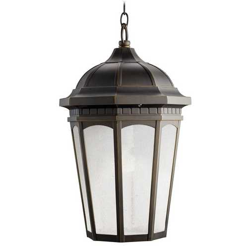 Kichler Lighting Kichler Outdoor Hanging Light with White Glass in Rubbed Bronze Finish 11016RZ
