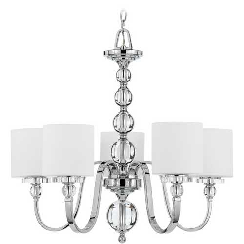 Quoizel Lighting Modern Chandelier with White Glass in Polished Chrome Finish DW5005C