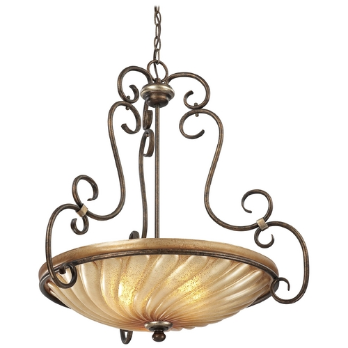 Minka Lavery Pendant Light with Beige / Cream Glass in Distressed Marsoni Bronze Finish 1983-565