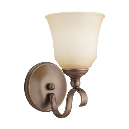 Sea Gull Lighting Sconce Wall Light with Beige / Cream Glass in Russet Bronze Finish 41380-829