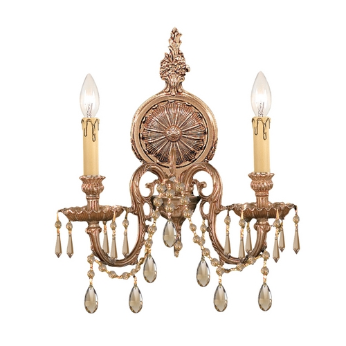 Crystorama Lighting Crystal Sconce Wall Light in Olde Brass Finish 2802-OB-GT-MWP