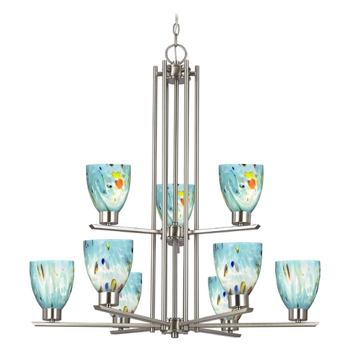 Design Classics Lighting Modern Chandelier with Blue Glass in Satin Nickel Finish 1122-1-09 GL1021MB