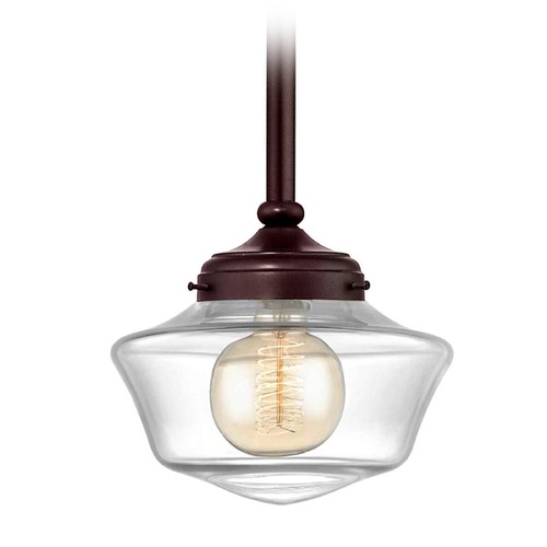 Design Classics Lighting 8-Inch Clear Glass Schoolhouse Mini-Pendant Light in Bronze Finish FA4-220 / GA8-CL