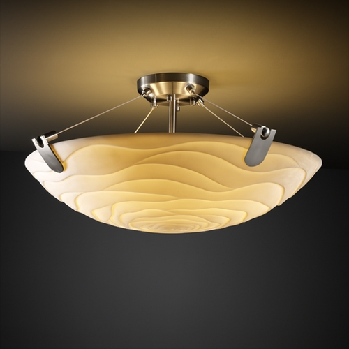 Justice Design Group Justice Design Group Porcelina Collection Semi-Flushmount Light PNA-9611-35-WAVE-NCKL