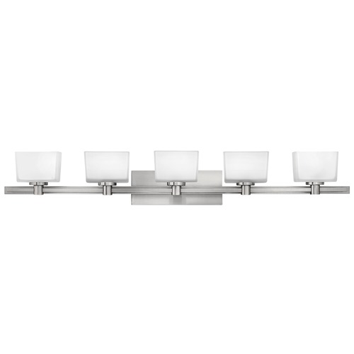 Hinkley Lighting Bathroom Light with White Glass in Brushed Nickel Finish 5025BN
