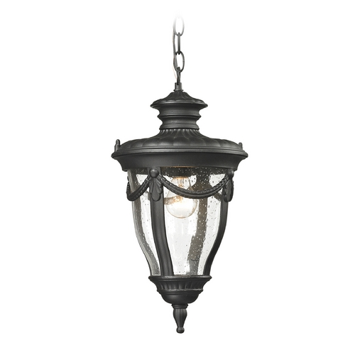 Elk Lighting Seeded Glass Outdoor Hanging Light Black Elk Lighting 45078/1