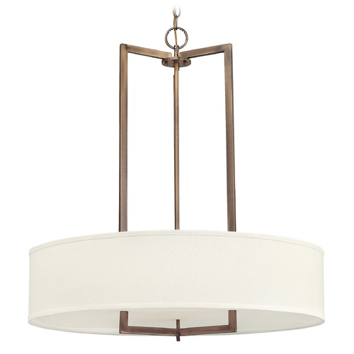 Hinkley Lighting Hinkley Lighting Hampton Brushed Bronze Pendant Light with Drum Shade 3206BR-GU24