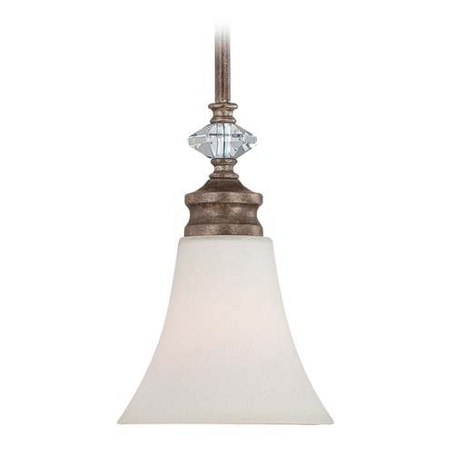 Craftmade Lighting Craftmade Lighting Boulevard Mocha Bronze/silver Accents Mini-Pendant Light with Bell Shade 26721-MB-WG