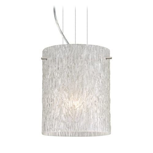 Besa Lighting Besa Lighting Tamburo Satin Nickel LED Mini-Pendant Light with Cylindrical Shade 1KG-4006GL-LED-SN