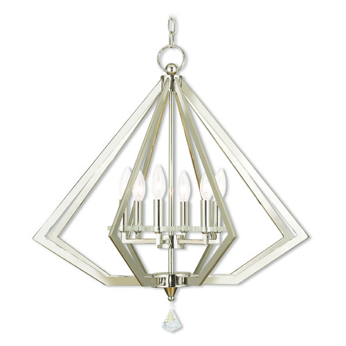 Livex Lighting Livex Lighting Diamond Polished Nickel Chandelier 50666-35