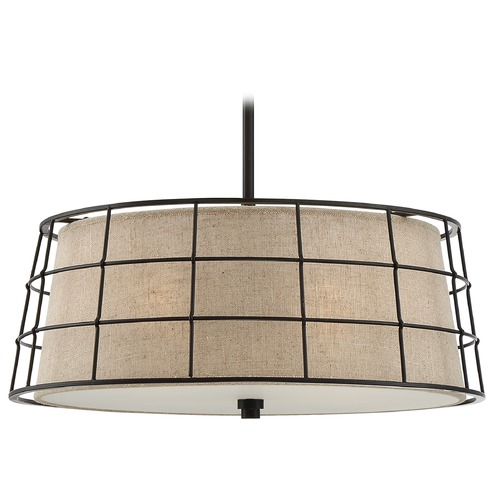 Quoizel Lighting Quoizel Lighting Landings Mottled Cocoa Pendant Light with Drum Shade LND2820MC