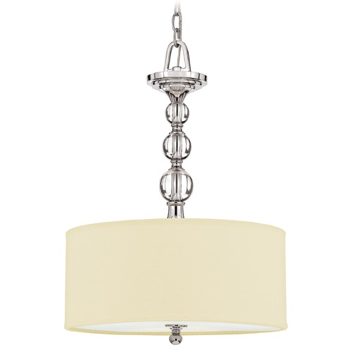 Quoizel Lighting Modern Drum Pendant Light with White Shade in Polished Chrome Finish DW2817C