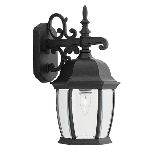 Designers Fountain Lighting Outdoor Wall Light with Clear Glass in Black Finish 2421-BK