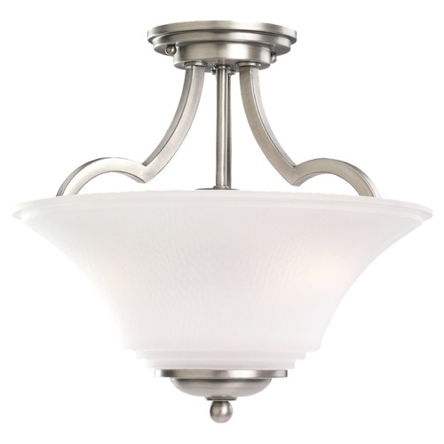 Sea Gull Lighting Semi-Flushmount Light with White Glass in Antique Brushed Nickel Finish 77375-965