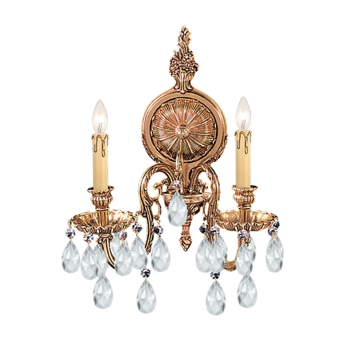 Crystorama Lighting Crystal Sconce Wall Light in Olde Brass Finish 2902-OB-CL-S