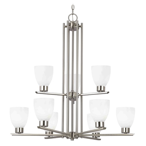 Design Classics Lighting Modern Chandelier with White Glass in Satin Nickel Finish 1122-1-09 GL1024MB