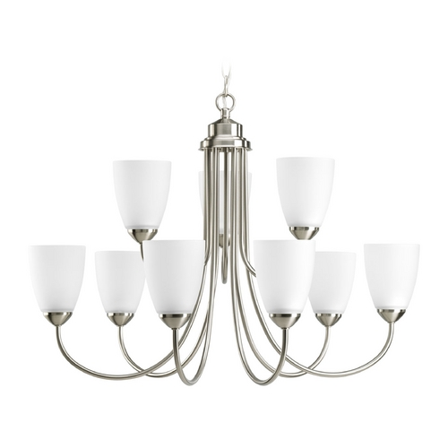 Progress Lighting Progress Chandelier with White Glass in Brushed Nickel Finish P4627-09EBWB