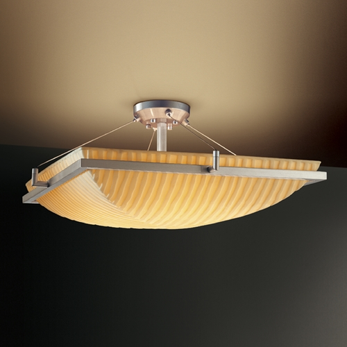 Justice Design Group Justice Design Group Porcelina Collection Semi-Flushmount Light PNA-9781-25-WFAL-NCKL