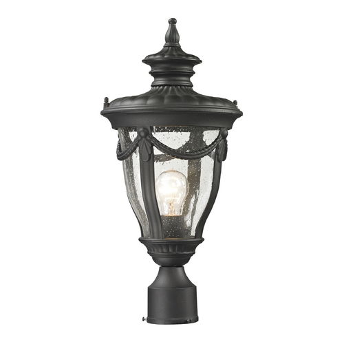 Elk Lighting Post Light with Clear Glass in Textured Matte Black Finish 45079/1