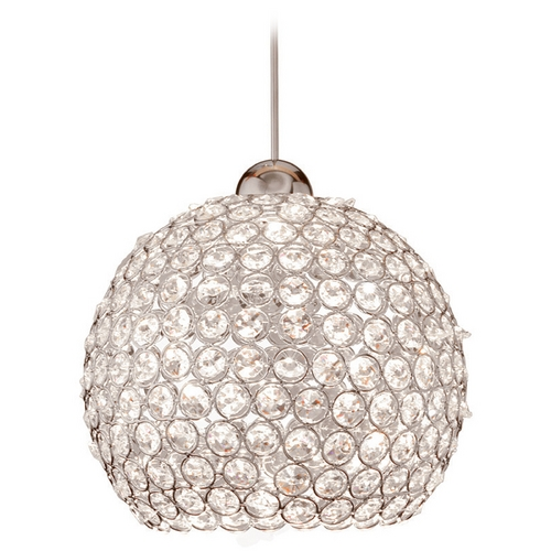 WAC Lighting WAC Lighting Crystal Collection Brushed Nickel LED Mini-Pendant with Bowl / Dome Sh MP-LED335-CL/BN