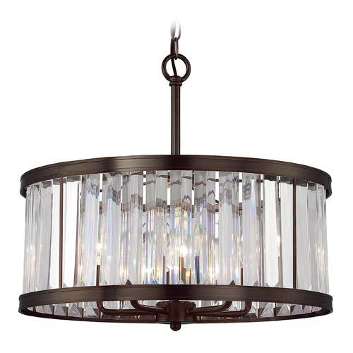 Savoy House Savoy House Lighting Tierney Burnished Bronze Pendant Light with Drum Shade 7-9809-5-28
