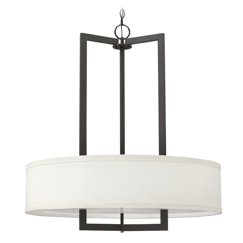 Hinkley Lighting Hinkley Lighting Hampton Buckeye Bronze Pendant Light with Drum Shade 3206KZ-GU24