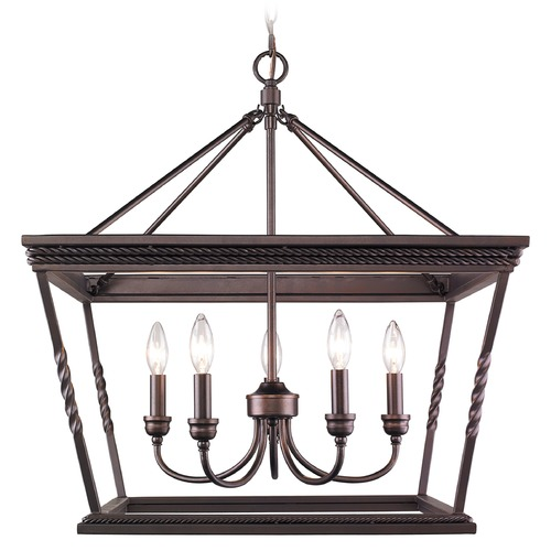 Golden Lighting Golden Lighting Davenport Etruscan Bronze Chandelier 4214-5 EB