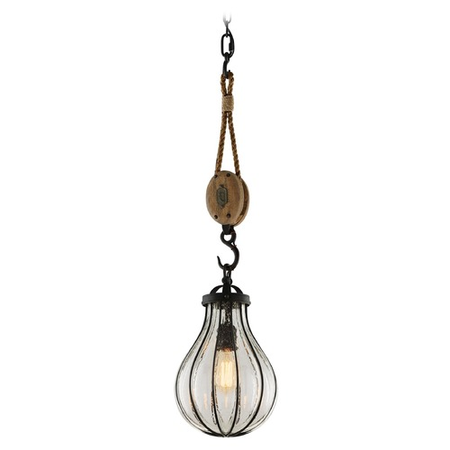 Troy Lighting Seeded Glass Mini-Pendant Light Vintage Iron Troy Lighting F4904