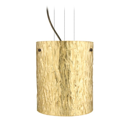 Besa Lighting Besa Lighting Tamburo Bronze LED Mini-Pendant Light with Cylindrical Shade 1KG-4006GS-LED-BR