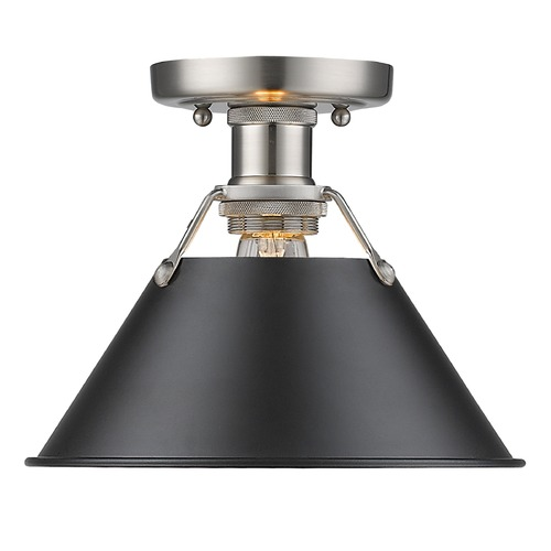 Golden Lighting Golden Lighting Orwell Pw Pewter Flushmount Light 3306-FM PW-BLK