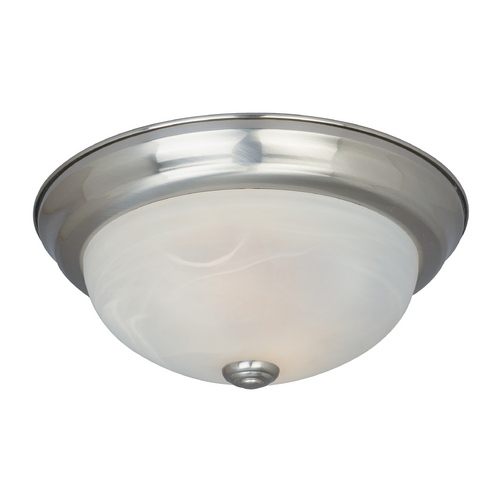 Designers Fountain Lighting Flushmount Light with Alabaster Glass in Satin Platinum Finish ES1257L-SP-AL