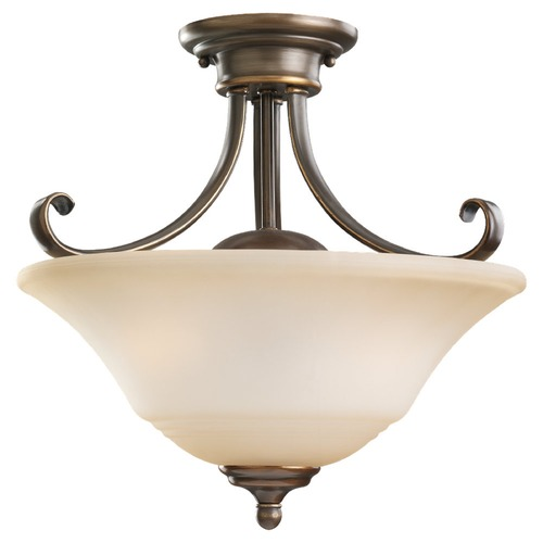 Sea Gull Lighting Semi-Flushmount Light with Beige / Cream Glass in Russet Bronze Finish 77380-829