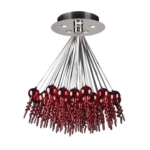 PLC Lighting Modern Chandelier in Polished Chrome Finish 96949  RED