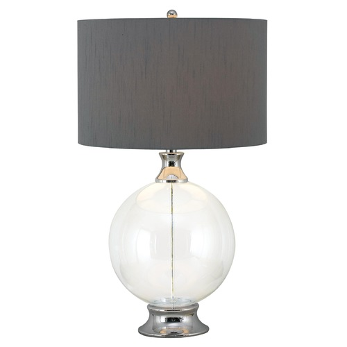 Kenroy Home Lighting Table Lamp with Grey Shade in Glass with Chrome Finish Accent Finish 32024GCH