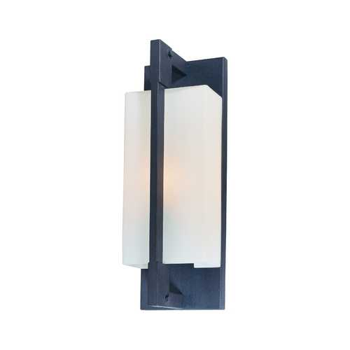 Troy Lighting Modern Outdoor Wall Light with White Glass in Fired Iron Finish B4017FI