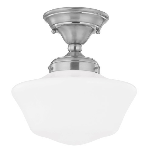 Design Classics Lighting 10-Inch Schoolhouse Ceiling Light in Satin Nickel Finish FAS-09 / GA10
