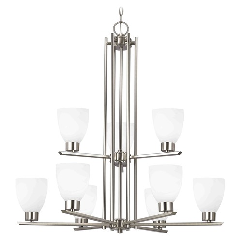 Design Classics Lighting Modern Chandelier with White Glass in Satin Nickel Finish 1122-1-09 GL1028MB
