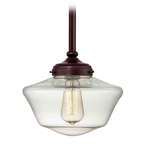 Design Classics Lighting Bronze 10-Inch Clear Glass Schoolhouse Mini-Pendant Light  FA4-220 / GA10-CL