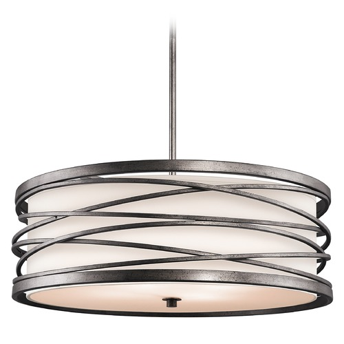 Kichler Lighting Kichler Drum Pendant Light with White Glass in Warm Bronze Finish 42465WMZ