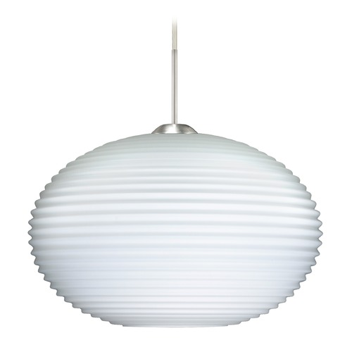 Besa Lighting Besa Lighting Pape Ribbed Glass Satin Nickel LED Pendant Light 1JT-491307-LED-SN