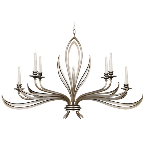 Fine Art Lamps Fine Art Lamps Villandry Silver Antique Silver Leaf with Black Chandelier 815240ST