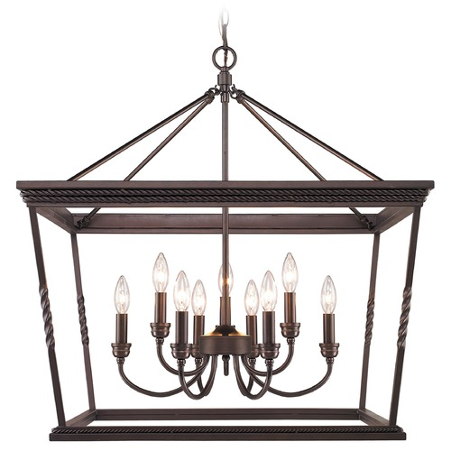 Golden Lighting Golden Lighting Davenport Etruscan Bronze Chandelier 4214-9 EB