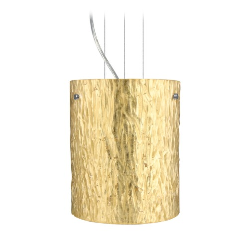 Besa Lighting Besa Lighting Tamburo Satin Nickel LED Mini-Pendant Light with Cylindrical Shade 1KG-4006GS-LED-SN