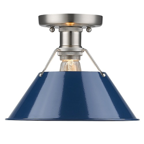 Golden Lighting Golden Lighting Orwell Pw Pewter Flushmount Light 3306-FM PW-NVY
