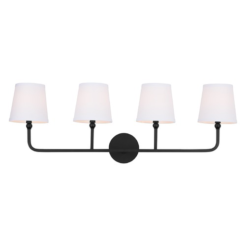 Capital Lighting Capital Lighting Dawson 4-Light Matte Black Bathroom Light with White Shade 119341MB-674