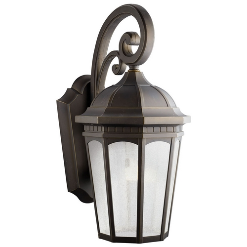 Kichler Lighting Kichler Outdoor Wall Light with White Glass in Rubbed Bronze Finish 11013RZ