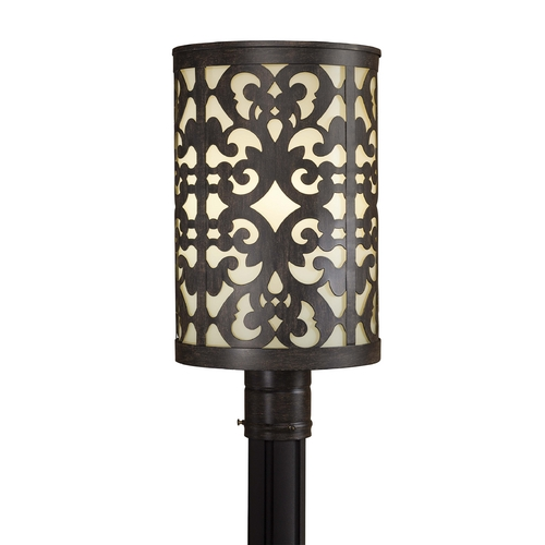 Minka Lighting Post Light with Beige / Cream Glass in Iron Oxide Finish 1496-357-PL