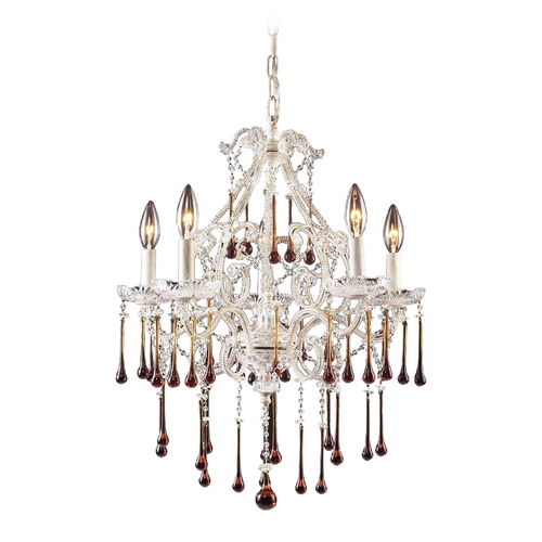 Elk Lighting Mini-Chandelier in Antique White Finish 4002/5AMB